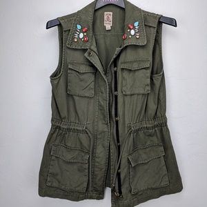 Decree drab green jewelled vest